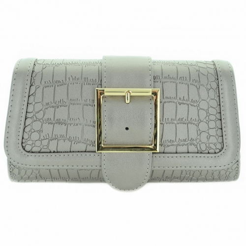 Polished Buckle Textured Faux Leather Clutch