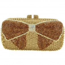 Crystal-Embellished Bow Evening Clutch