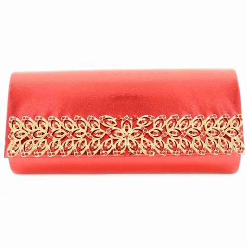 Crystal Deco Faux Leather Cltuch