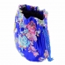Floral-brocade Drawstring Pouch