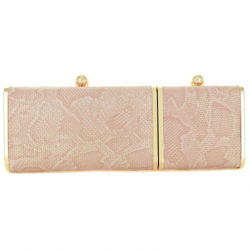 Python Embossed Two Compartment Clutch