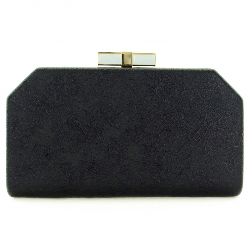 Bow Top Embossed Clutch