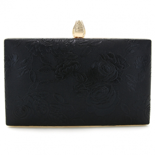 Flower-embossed Frame Clutch