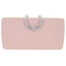 Glitter Metallic Crystal Buckle Clutch