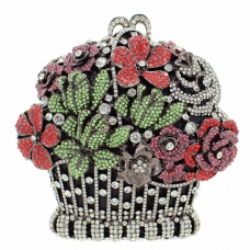Crystal-Embellished Flower Basket Evening Clutch