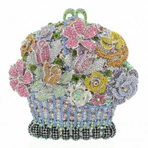 Crystal-Embellished Flower Basket Evening Clutch