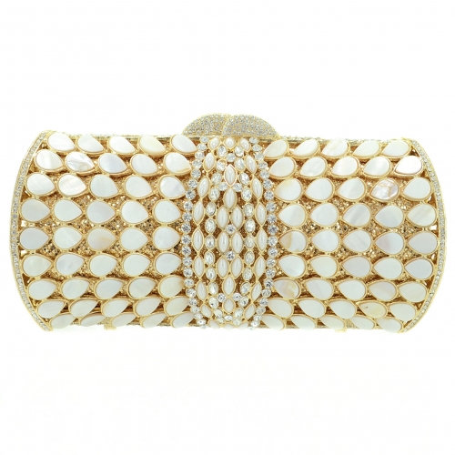 Mother Of Pearl & Crystal-Embellished Clutch