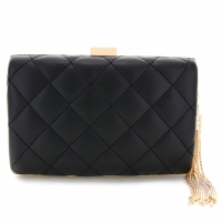 Quilted Faux Leather Box Cllutch Bag
