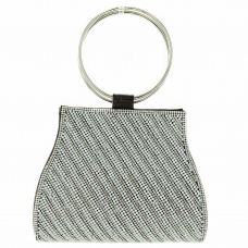 Ring Handle Crystal & Faux Pearl Clutch