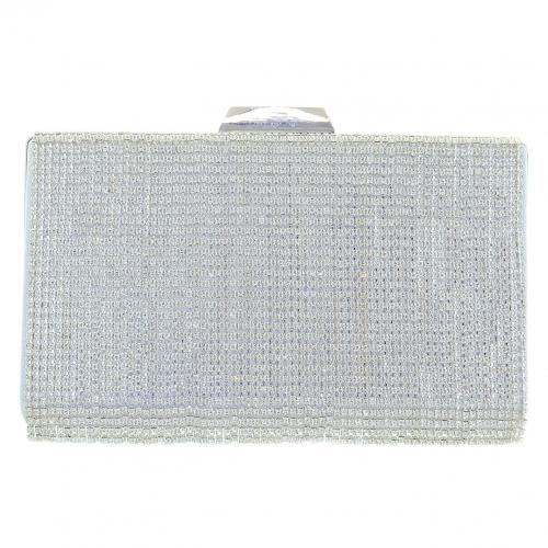 Lavish Crystal Fringe Clu, Silver