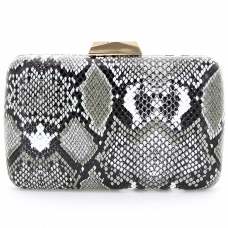 Python Embossed Box Clutch