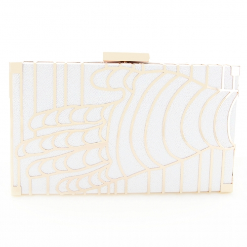 Holographic Metal Hollow Out Hand Frame Clutch