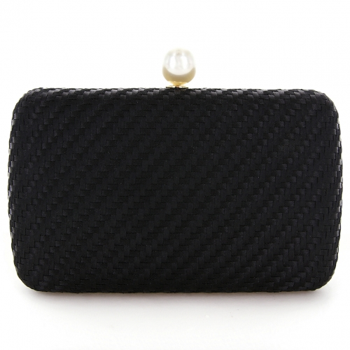 Pearl Top Weave Clutch Bag