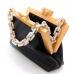 Acrylic Chain Handle Vegan Leather Clutch Bag