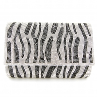 Crystal-Embellished Zebra Print Clutch