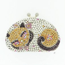 Cuddle Up Cat Crystal-Embellished Clutch