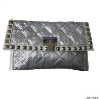 Studded Metallic Mesh Clutch