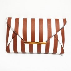 Faux Leather Stripe Clutch