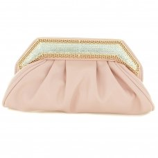 Crystal Frame Faux Leather Clutch