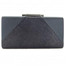 Snake Embossed Patchwork Clutch