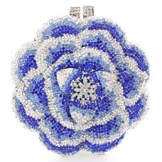 Crystal-Embellished Flower Evening Clutch