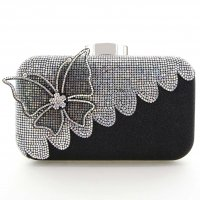Rhinestone Embellished Butterfly Box Clutch Bag