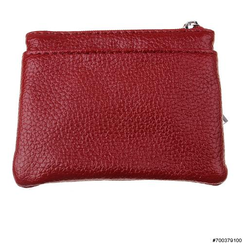 Leather Card Case with Ke, RED